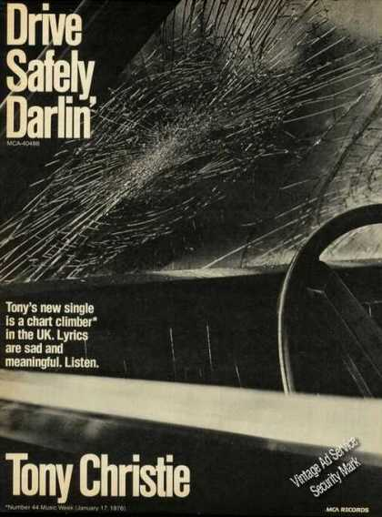 Tony Christie Ad Drive Safely Darlin' Music (1976)