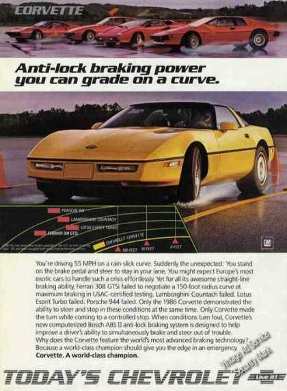 Chevrolet Yellow Corvette Photo Braking Power (1986)