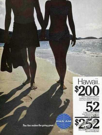 Pan Am To Hawaii $200 Couple On Beach Travel (1967)