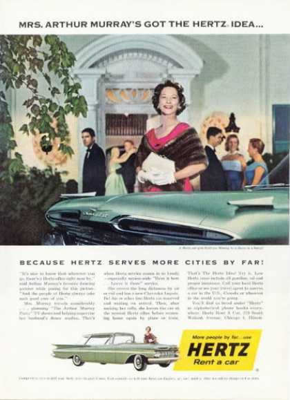 Hertz Chevy Rental Car Mrs. Arthur Murray (1958)