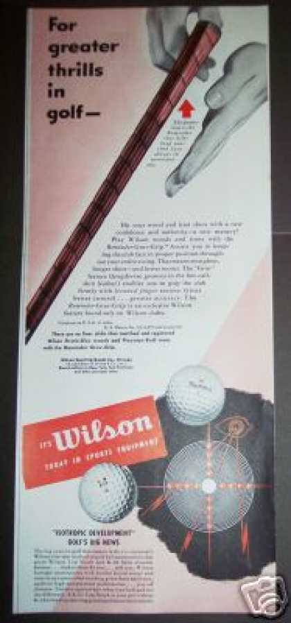 Wilson Golf Clubs Balls Sporting Goods (1949)
