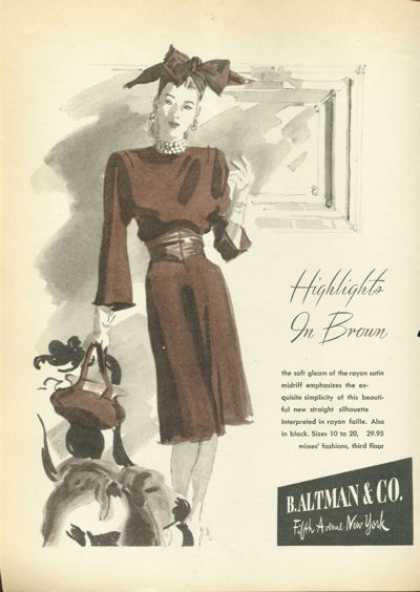 Altman Fifth Avenue Fashion Dress Hat (1945)