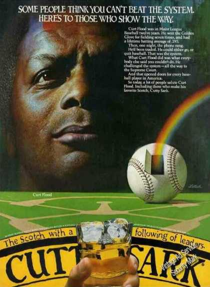 Curt Flood Photo Baseball Rare Cutty Sark (1982)