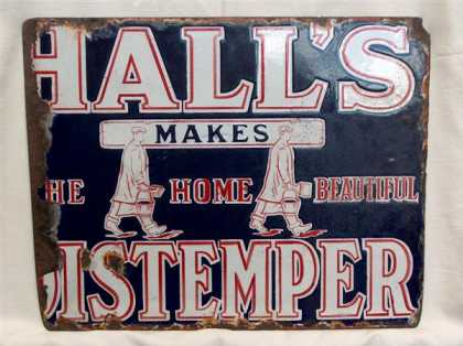 Hall's Distemper Enamel Sign