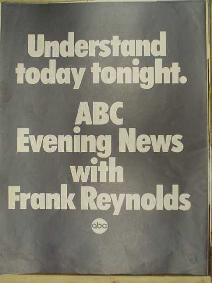 ABC evening news with Frank Reynolds. Understand today tonight. (1969)