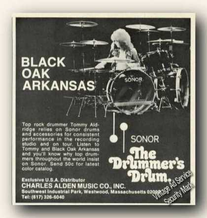 Tommy Aldridge Photo Sonor Drums (1975)