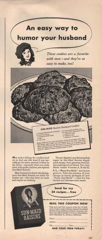 Sun Maid Raisins Oatmeal Cookies (1941)
