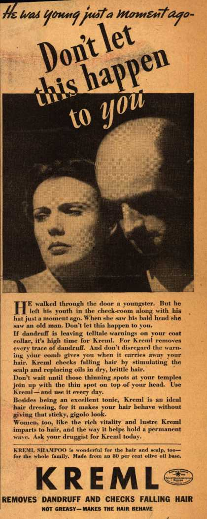 Kreml's shampoo – He was young just a moment ago-Don't let this happen to you (1936)