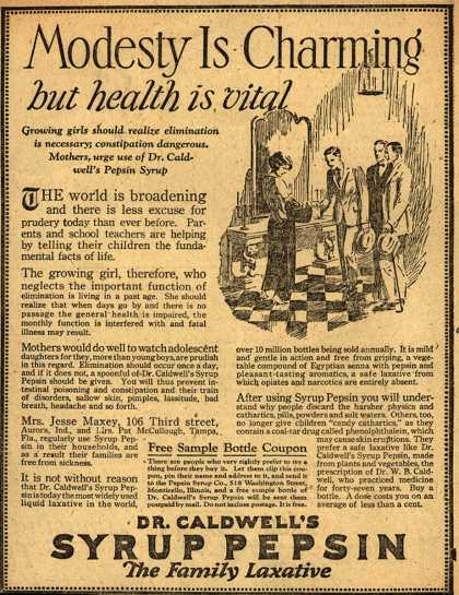 Dr. W. B. Caldwell&#8217;s Syrup Pepsin &#8211; Modesty Is Charming but health is vital (1924)