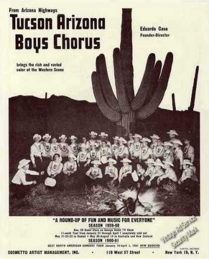 Tucson Arizona Boys Chorus Photo Booking Trade (1960)