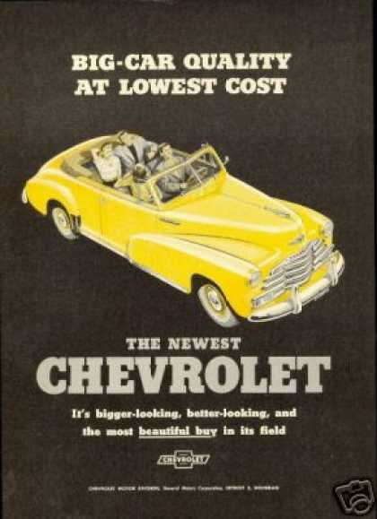 Chevrolet Yellow Convertible Vintage (1947)
