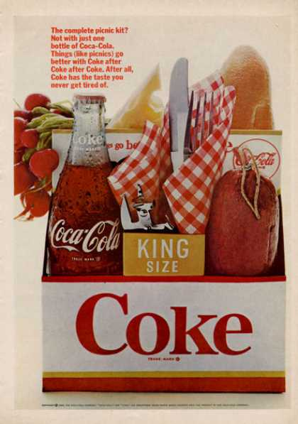 Coke Coca!~cola 6 Pack Picnic Bottle (1966)