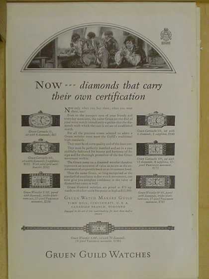 Gruen Guild watches. Diamonds that carry their own certification (1926)