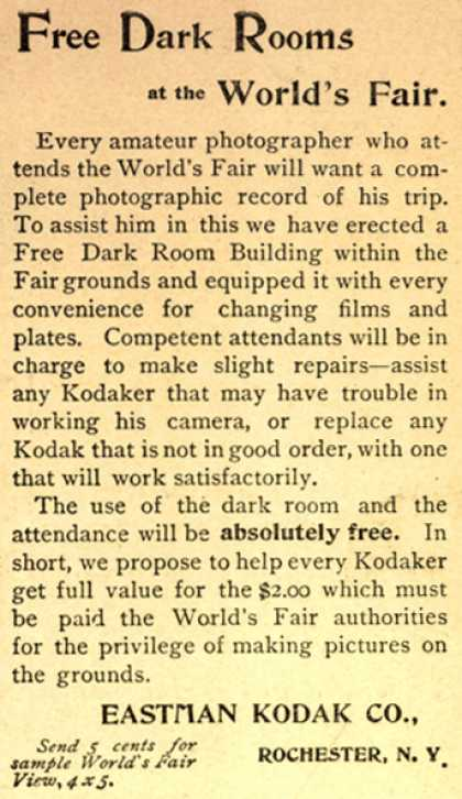 Kodak's Free Dark Rooms – Free Dark Rooms at the World's Fair.