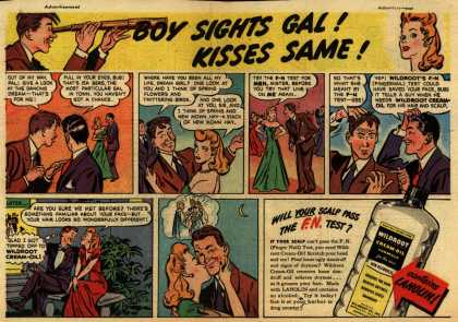 Wildroot Company's Wildroot Cream-Oil – Boy Sights Gal! Kisses Same (1945)