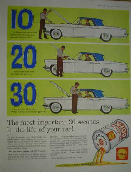 Shell X-100 Premium Motor Oil 30 seconds (1960)