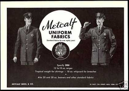 Metcalf Uniform Fabric Police Firemen Fireman (1951)