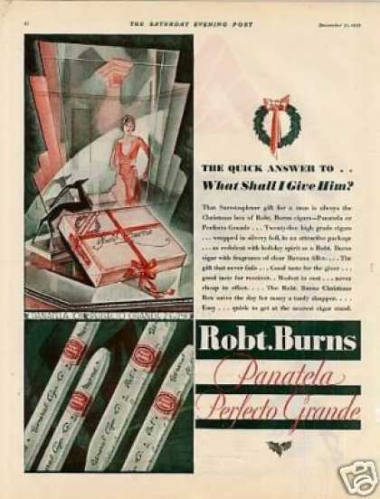 Robt. Burns Panatela Cigars (1929)