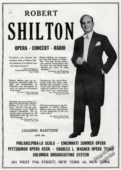 Robert Shilton Photo Opera Concert Radio (1946)