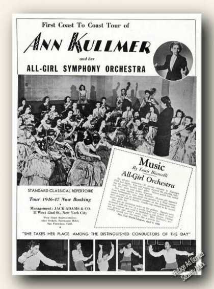Ann Kullmer Photo All-girl Symphony Orchestra (1946)