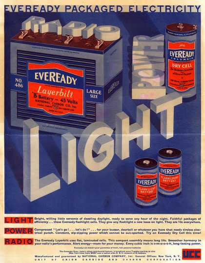National Carbon Company's Batteries – Eveready Packaged Electricity (1930)