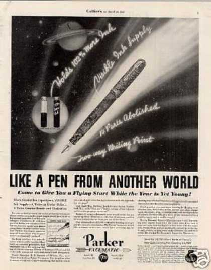 "Parker Vacumatic Pen Ad ""Like a Pen From... (1935)"