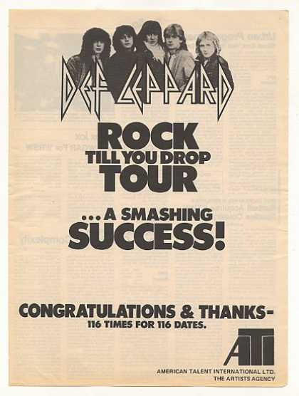 Def Leppard Rock Till You Drop Tour ATI (1983)