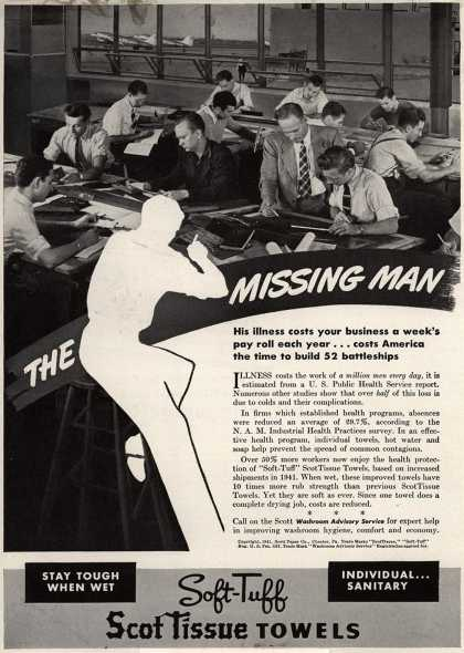 Scott Paper Company's Soft-Tuff ScotTissue Towels – The Missing Man. His illness costs your business a week's pay roll each year ... costs America the time to build 52 battleships. (1941)