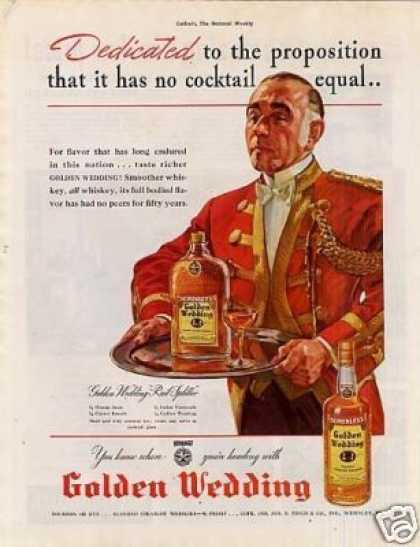 "Golden Wedding Whiskey Color Ad ""Dedicated To... (1938)"