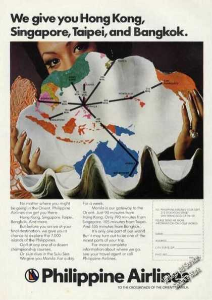 Philippine Airlines Route Map Advertising (1975)