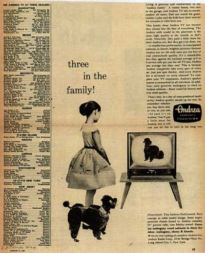 Andrea Radio Corporation's The Andrea Hollywood – Three in the family (1956)