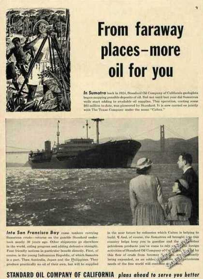 Oil Tanker Golden Gate Bridge Standard Oil (1953)