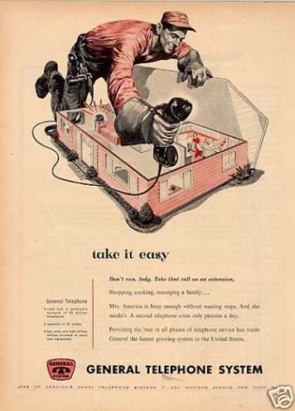 "General Telephone System Ad ""Take It Easy... (1955)"