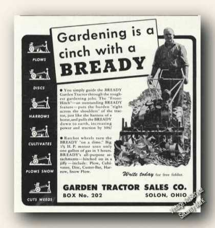 Bready Garden Tractors Solon Oh Farm Advertising (1947)