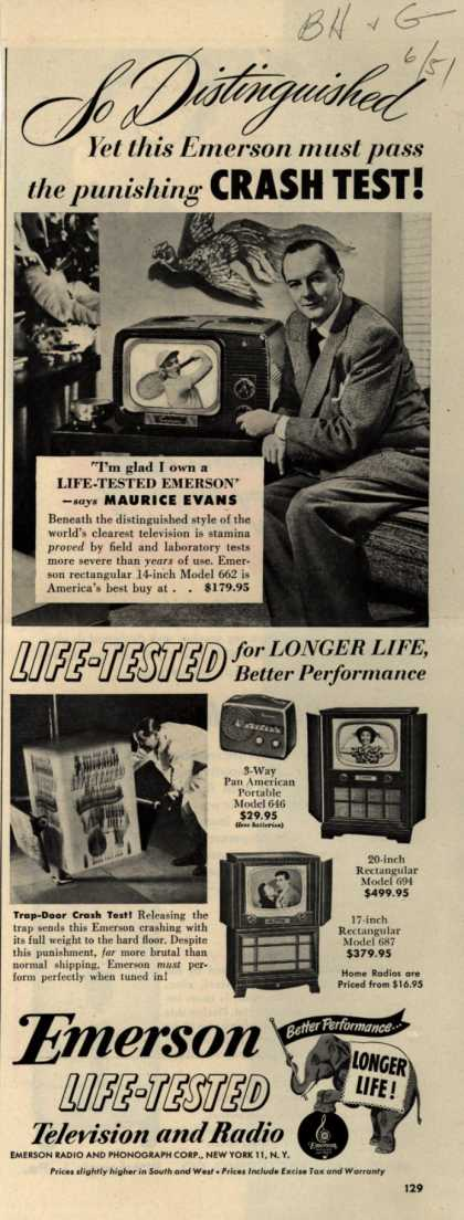 Emerson Radio and Phonograph Corporation's various – So Distinguished Yet this Emerson must pass the punishing Crash Test (1951)