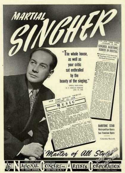 Martial Singher Photo Baritone Opera Trade (1948)