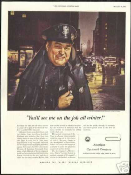 Policeman Raincoat Flu Threat American Cyanamid (1946)