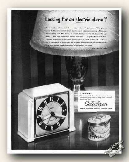 Telechron Looking for an Electric Alarm Clock (1945)