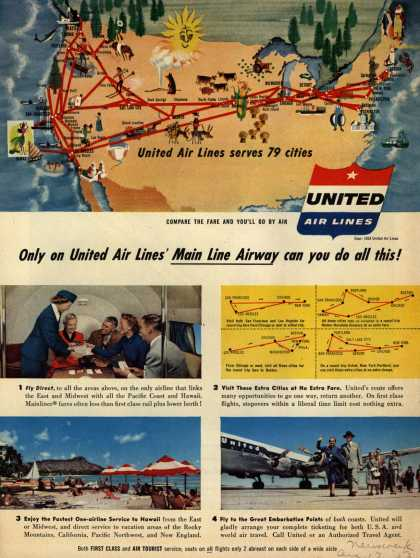 United Air Line's Main Line Airway – Only on United Air Lines' Main Line Airway can you do all this (1953)