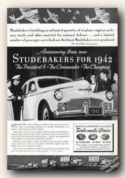 Studebaker Cars Wartime Ad Wwii (1942)