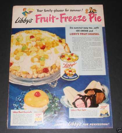 """Libby's Fruit Freeze"" Ad, Ex (1949)"