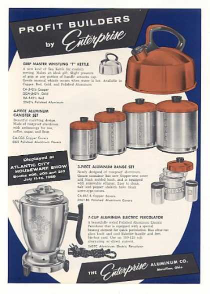 Enterprise Aluminum Tea Kettle Canister Trade (1955)