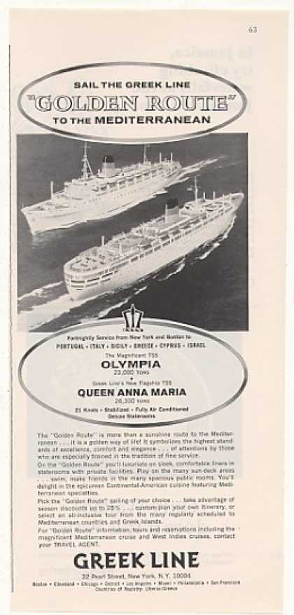 Greek Line Olympia Queen Anna Maria Ships (1966)