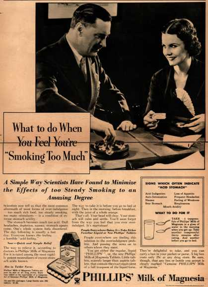 "Chas. H. Phillips Chemical Co.'s Milk of Magnesia – What to do When You Feel You're ""Smoking Too Much"" (1934)"