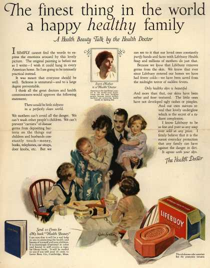 Lever Brothers Company's Lifebuoy Health Soap – The finest thing in the world a happy healthy family. A Health Beauty Talk by the Health Doctor. (1924)