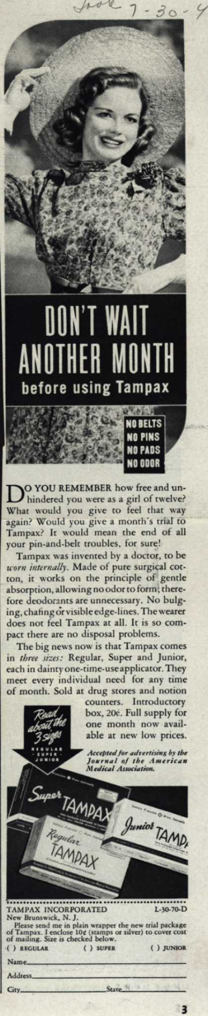 Tampax's Tampons – Don't Wait Another Month before using Tampax (1940)