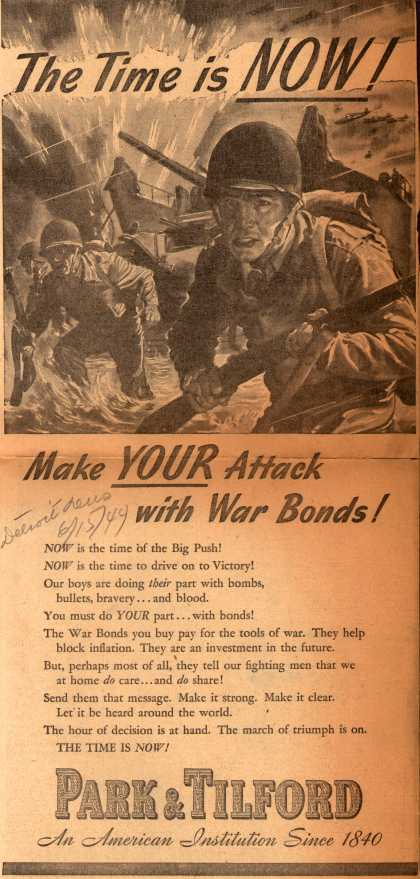 Park & Tilford's War Bonds – The Time Is NOW (1944)