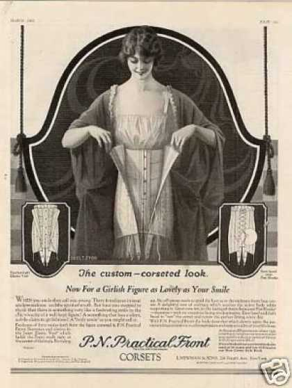 P.n. Practical Front Corset Ad Eggleston Art (1923)