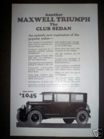 Maxwell Motor Car Ad the Club Sedan (1923)