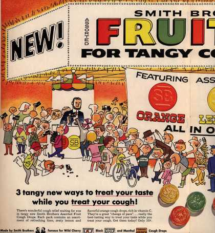 Smith Brothers – New! Smith Brothers Presents: Assorted Fruit Cough Drops for Tangy Cough Relief (1958)
